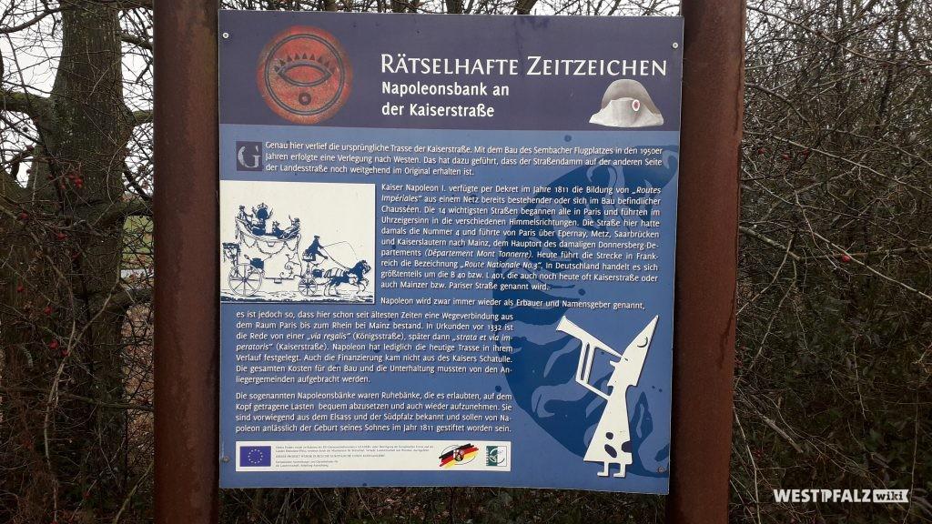 Informationstafel zur Napoleonsruhebank bei Mehlingen