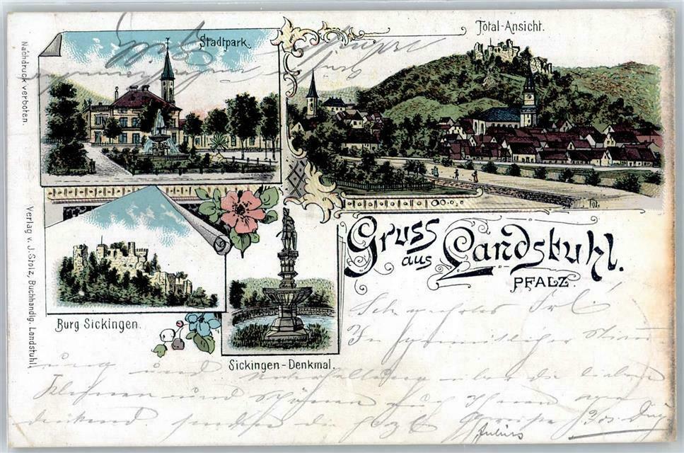 Postkarte mit Bild des alten Stadtparks in Landstuhl