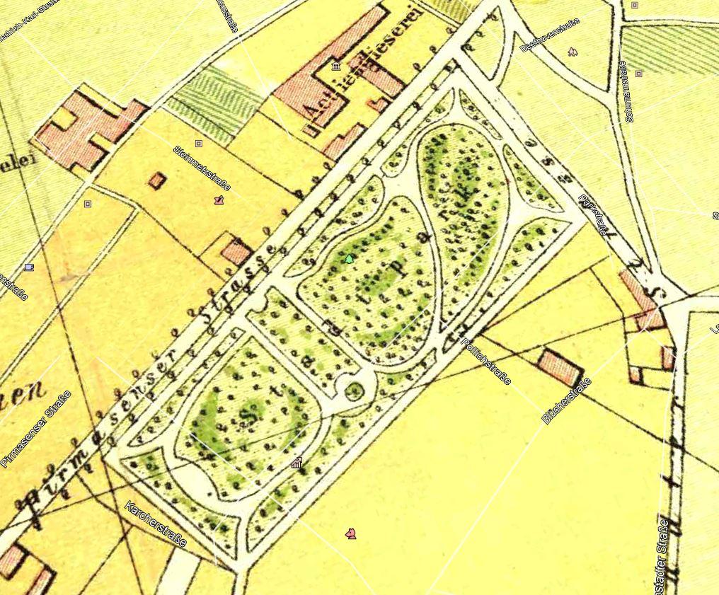Plan des Stadtparks in Kaiserslautern im Jahr 1890