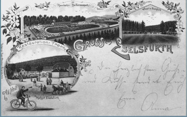 Postkarte aus dem Jahr 1897, die die Radrennbahn zeigt