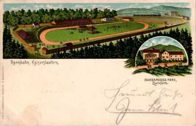 Postkarte von der Rennbahn des Barbarossaparks