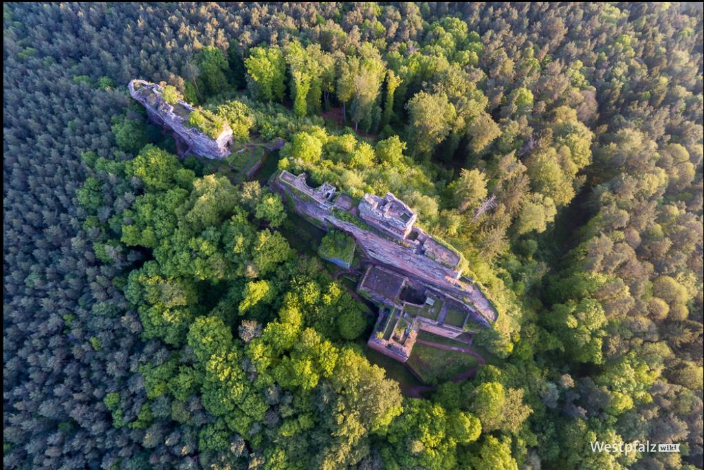 Luftaufnahme der Burgruine Drachenfels