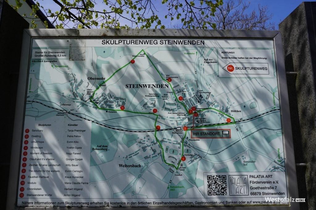 Übersichtskarte Skulpturenweg in Steinwenden