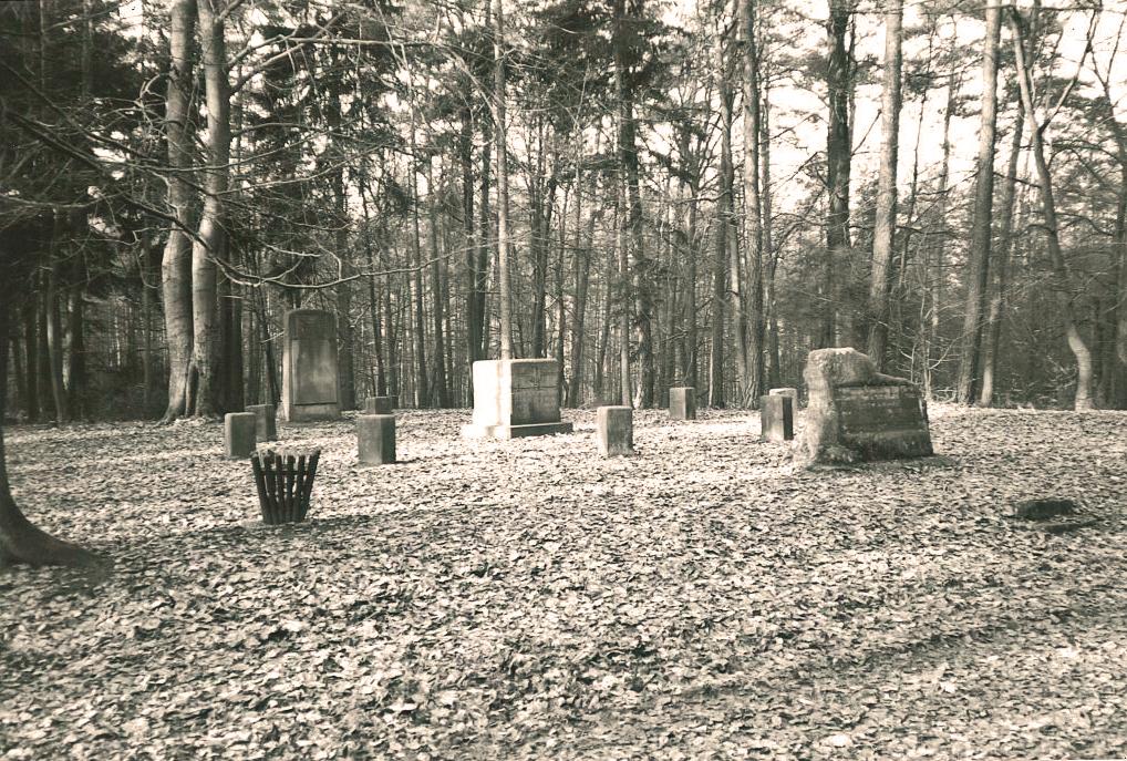 """Ritterstein Nr. 289 bei Neuhemsbach mit der Inschrift """"Hier befand sich das Landgericht auf dem Stampe - Gerichtsstätte der Grafen von Leiningen - später Rügegericht Neun Stühle"""""""