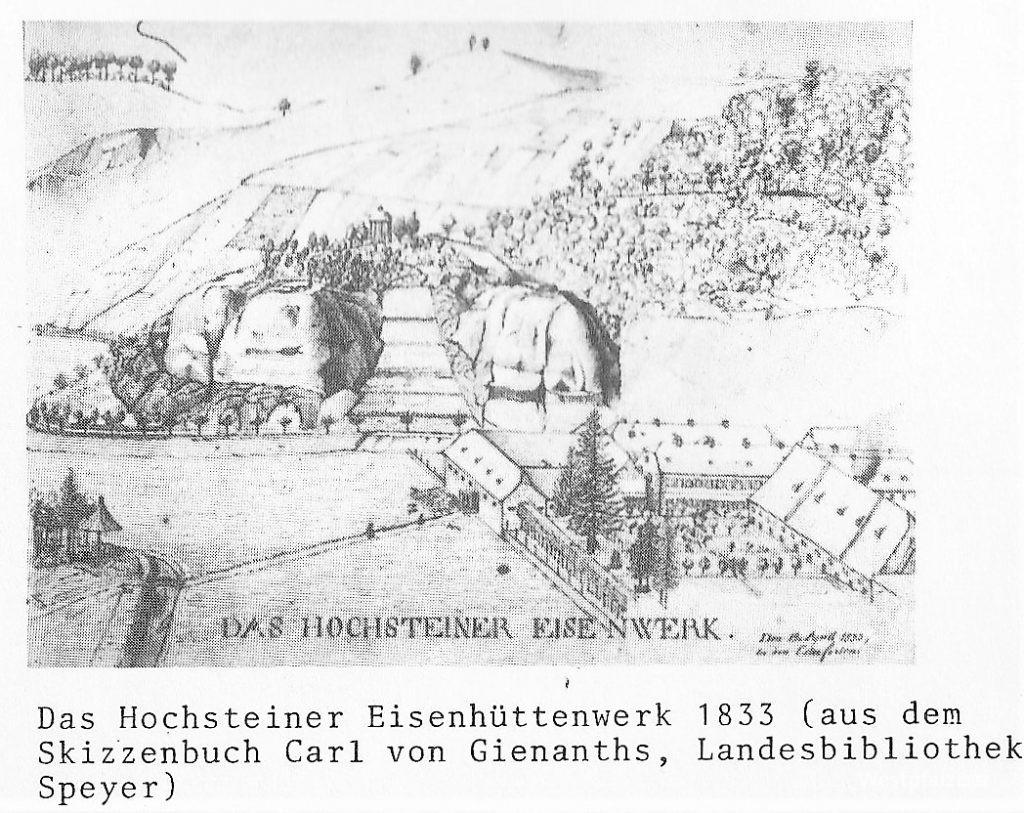 Das Hochsteiner Eisenwerk, Zeichnung, Hochstein 1833 mit Blick auf den Felsengarten mit Pavillon