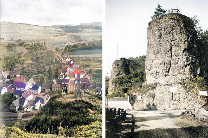 Links: Aussichtspunkt im Felsengarten. Rechts: Blick auf Engels- und Teufelsfelsen um 1930