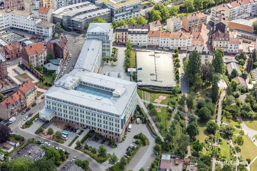 Luftaufnahme der ehemaligen Schuhfabrik in Pirmasens