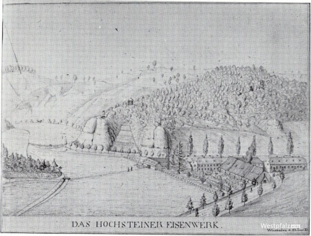 Zeichnung des Eisenhüttenwerks mit dem Hirschpark am linken Bildrand